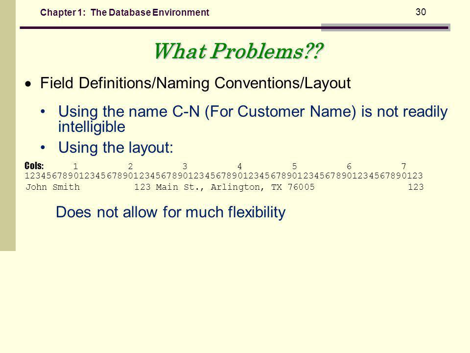 What Problems  Field Definitions/Naming Conventions/Layout