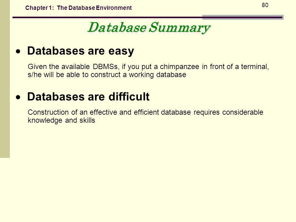 Database Summary  Databases are easy  Databases are difficult