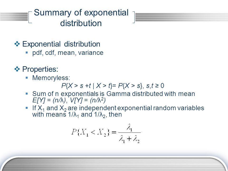 Summary of exponential distribution