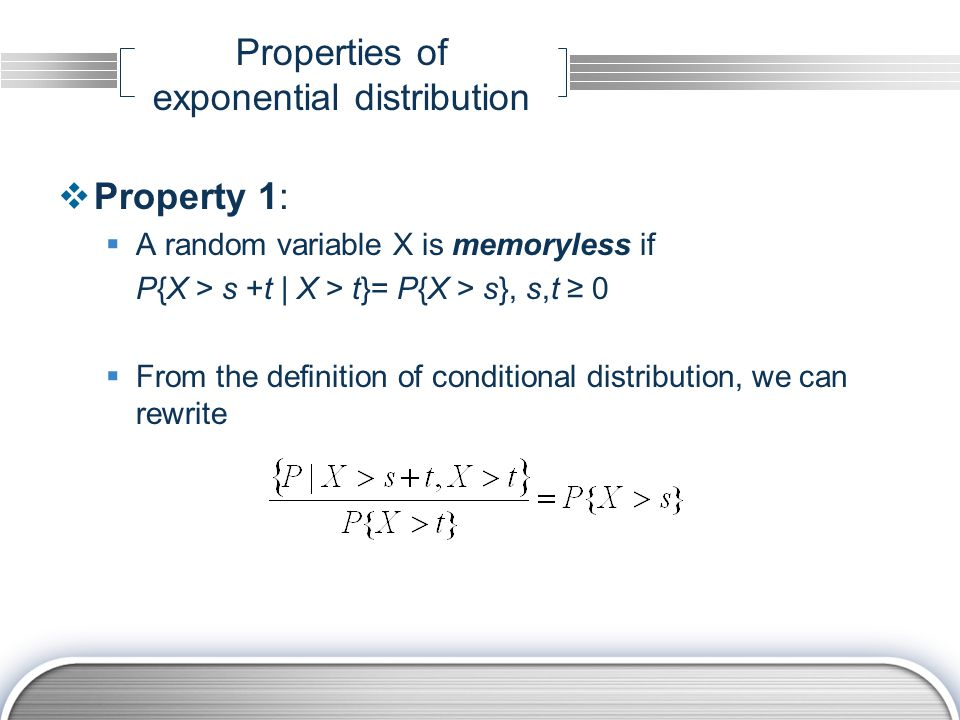 Properties of exponential distribution