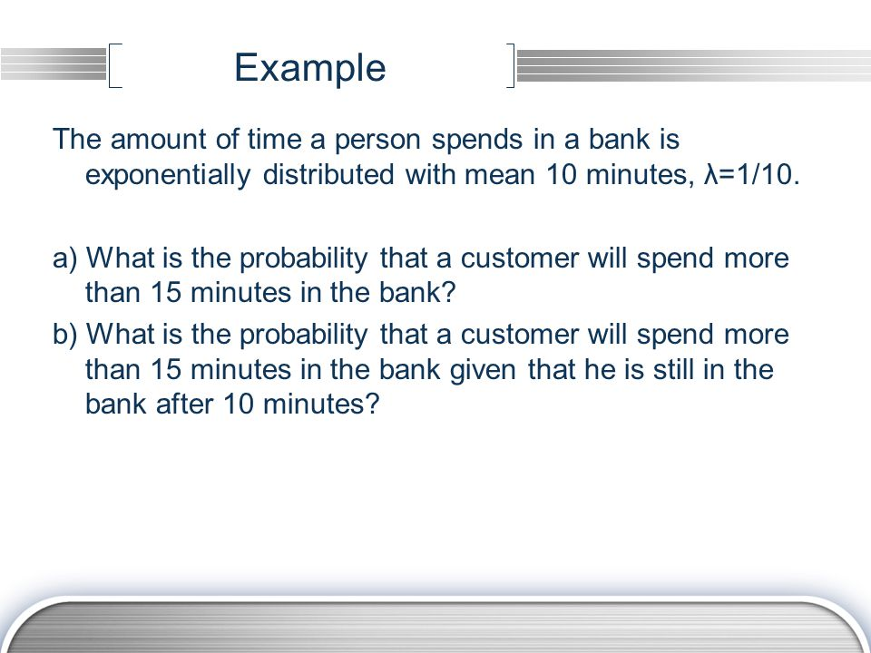 Example The amount of time a person spends in a bank is exponentially distributed with mean 10 minutes, λ=1/10.