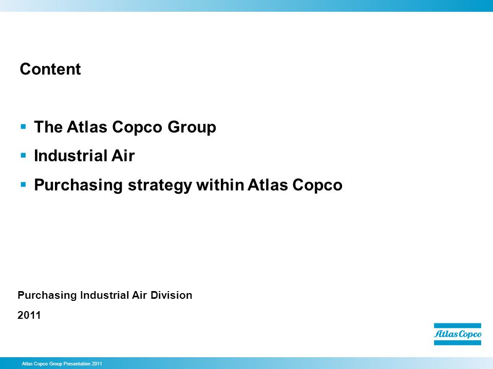 Purchasing strategy within Atlas Copco