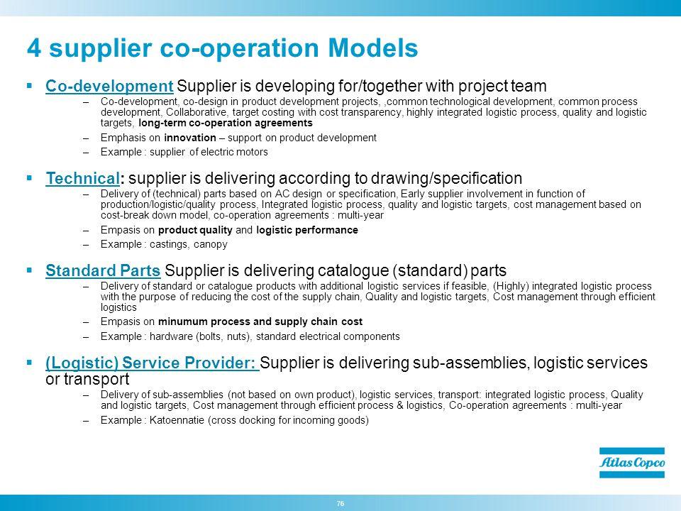 4 supplier co-operation Models