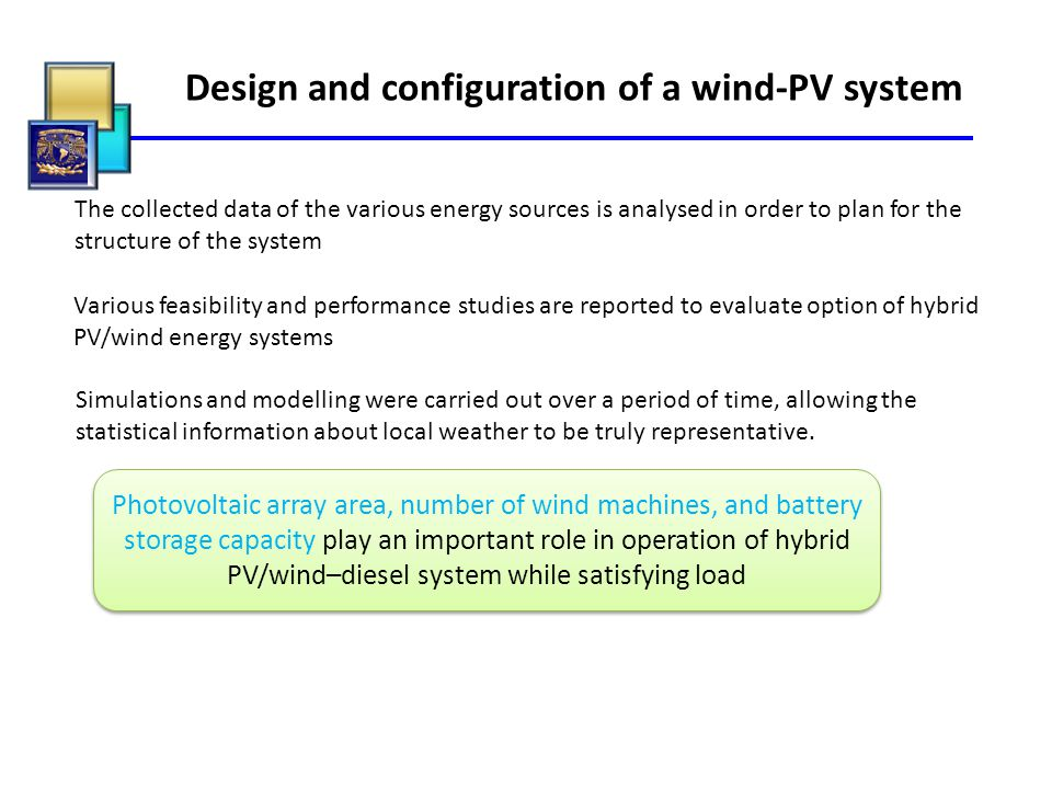 Design and configuration of a wind-PV system