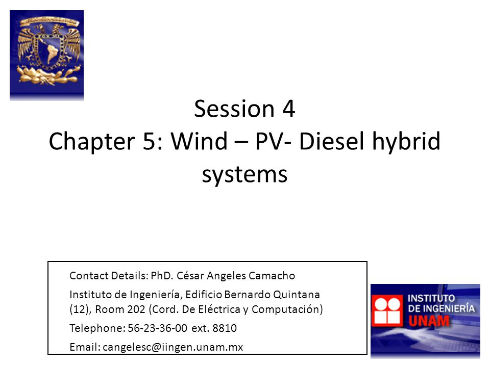 Session 4 Chapter 5: Wind – PV- Diesel hybrid systems