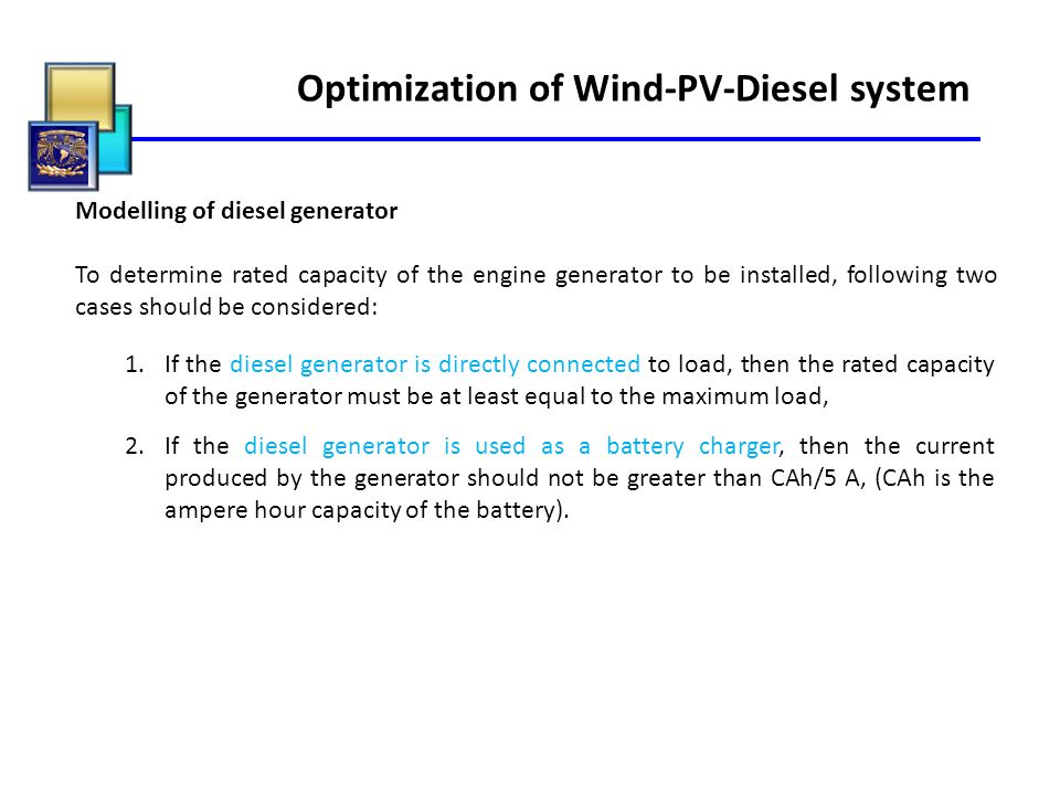 Optimization of Wind-PV-Diesel system