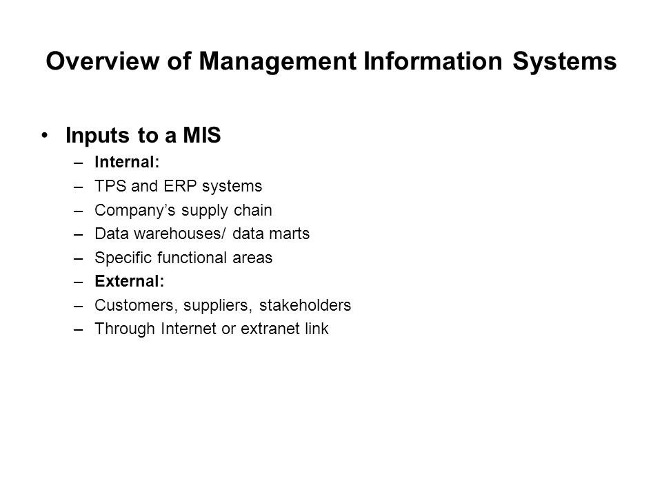 Overview of Management Information Systems