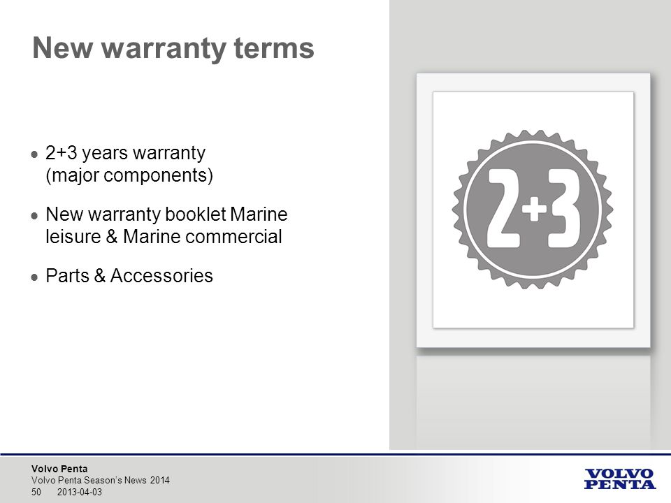 New warranty terms 2+3 years warranty (major components)