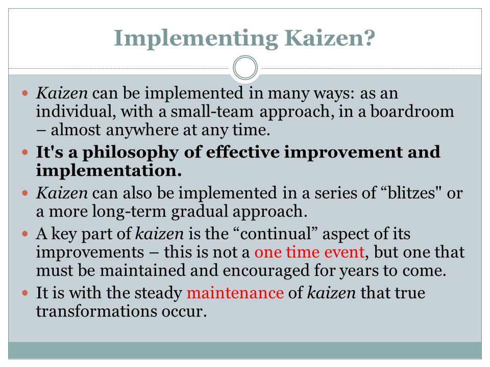 Implementing Kaizen