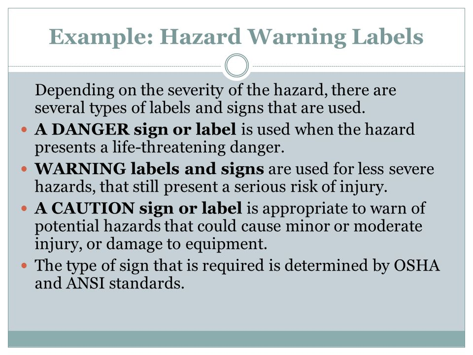 Example: Hazard Warning Labels