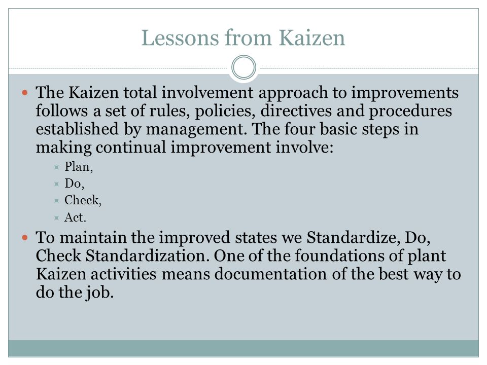Lessons from Kaizen