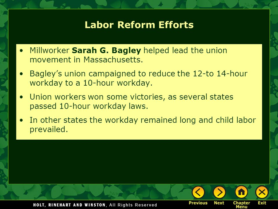 Labor Reform Efforts Millworker Sarah G. Bagley helped lead the union movement in Massachusetts.