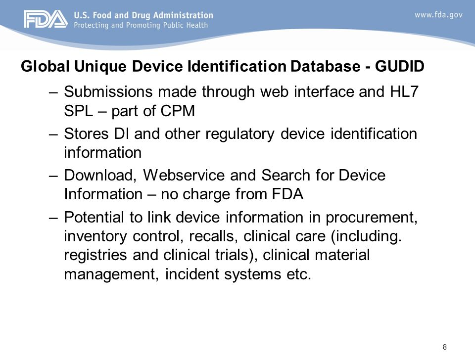 Global Unique Device Identification Database - GUDID