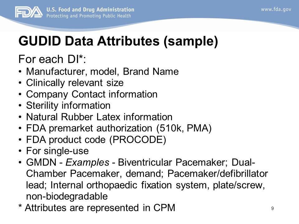 GUDID Data Attributes (sample)