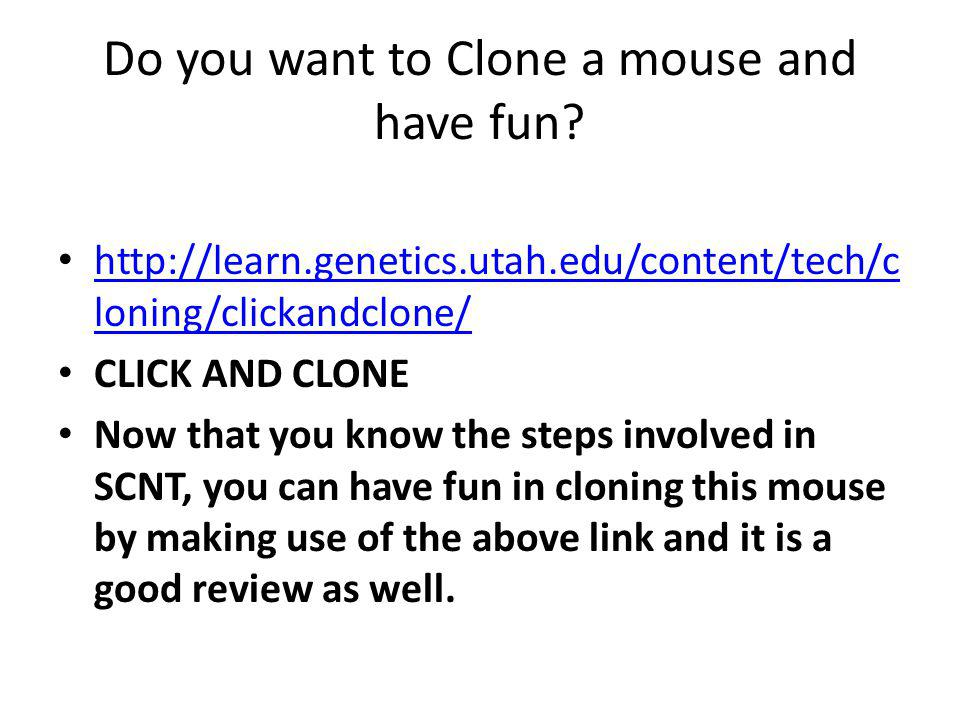 Do you want to Clone a mouse and have fun