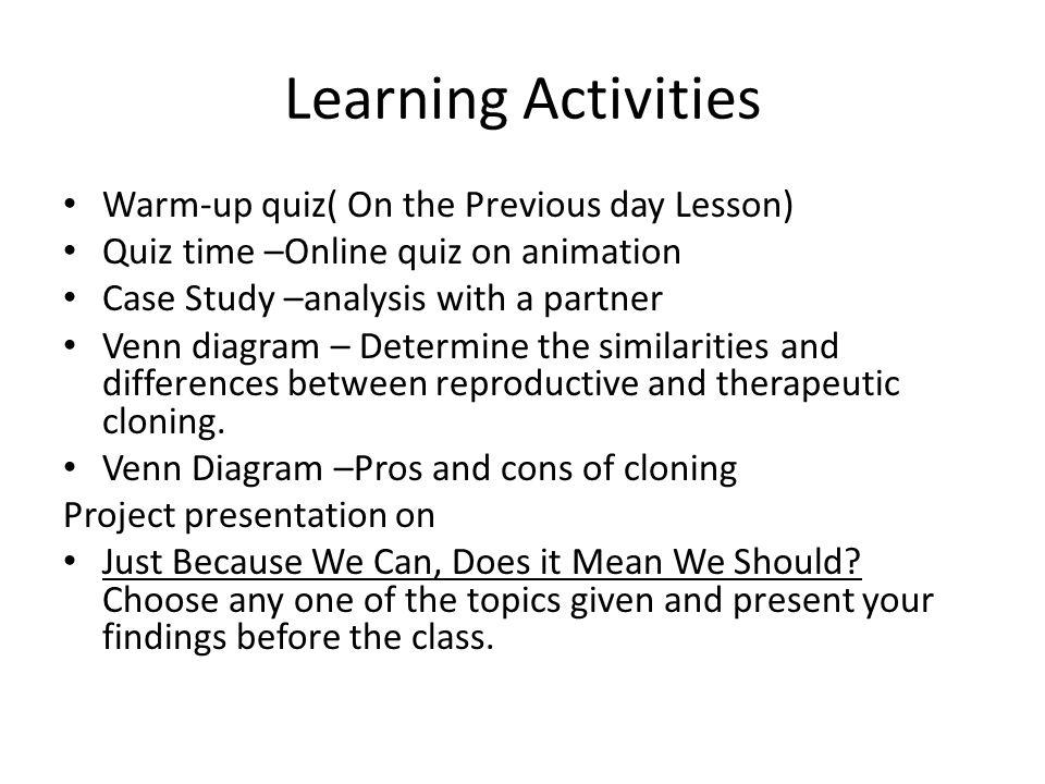Learning Activities Warm-up quiz( On the Previous day Lesson)