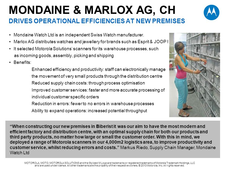 MONDAINE & MARLOX AG, CH drives operational efficiencies at new premises