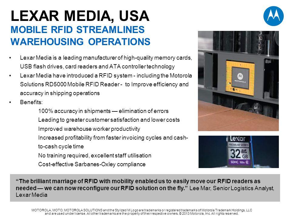LEXAR MEDIA, USA MOBILE RFID STREAMLINES WAREHOUSING OPERATIONS