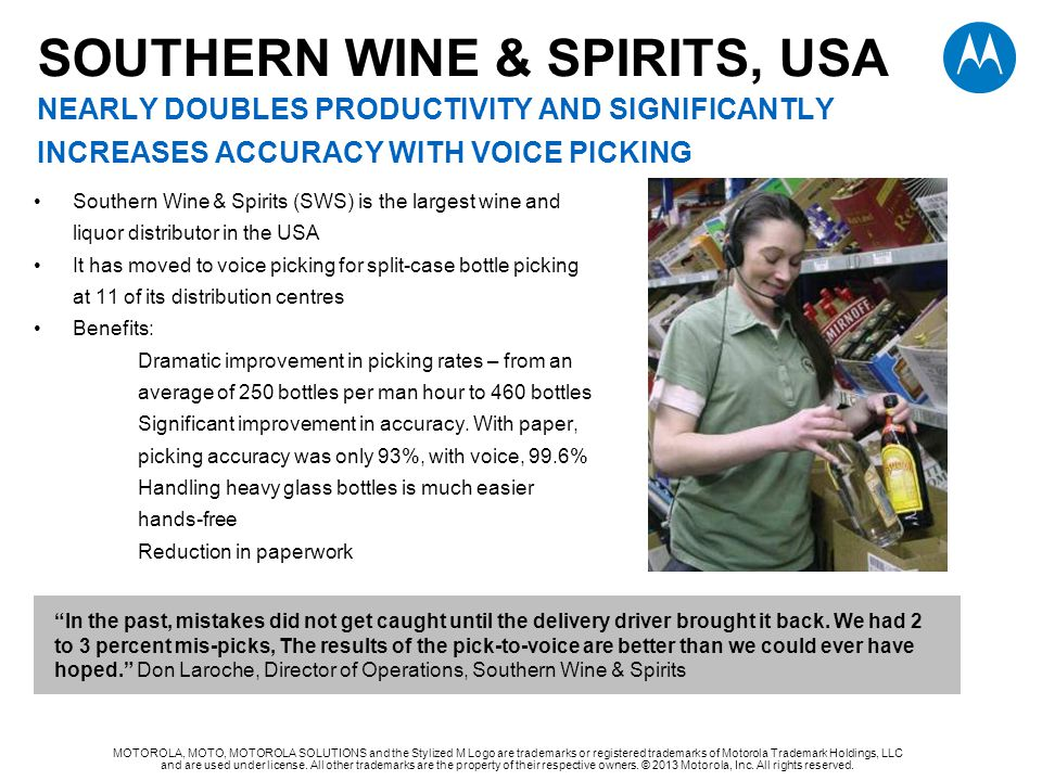Southern Wine & Spirits, USA NEARLY DOUBLES PRODUCTIVITY AND SIGNIFICANTLY increases accuracy with voice picking