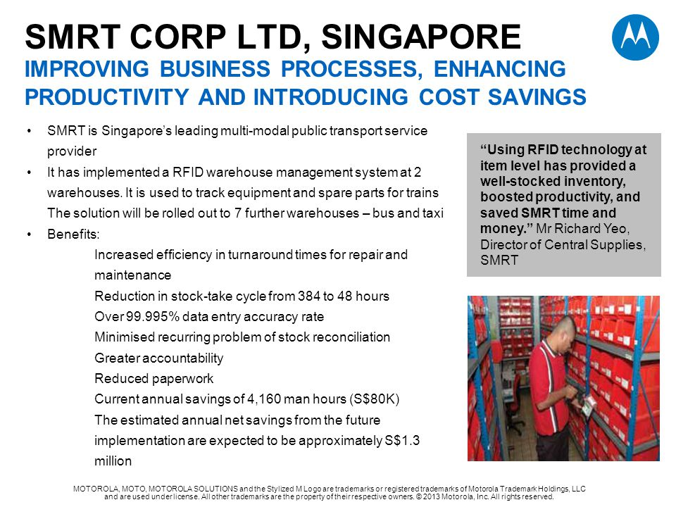 SMRT CORP LTD, SINGAPORE improving business processes, enhancing productivity and introducing cost savings