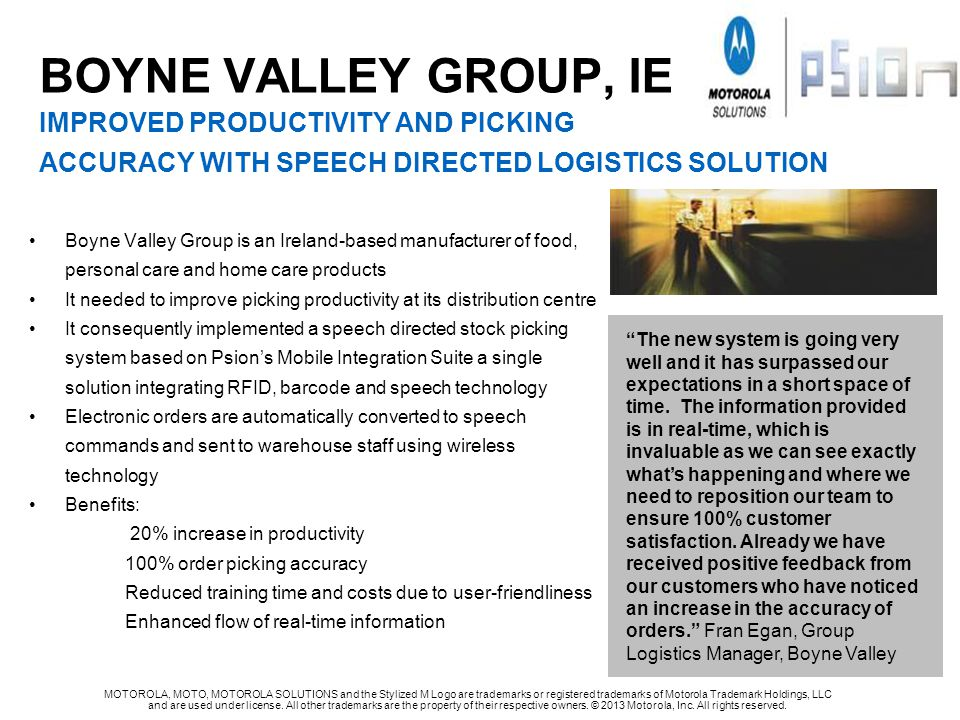 BOYNE VALLEY GROUP, IE IMPROVED PRODUCTIVITY AND PICKING ACCURACY WITH SPEECH DIRECTED LOGISTICS SOLUTION
