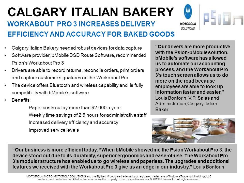 CALGARY ITALIAN BAKERY WORKABOUT PRO 3 INCREASES DELIVERY EFFICIENCY AND ACCURACY FOR BAKED GOODS provider