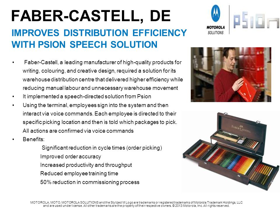 FABER-CASTELL, de IMPROVES DISTRIBUTION EFFICIENCY