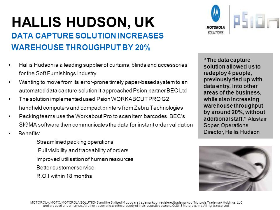 HALLIS HUDSON, UK DATA CAPTURE SOLUTION INCREASES WAREHOUSE THROUGHPUT by 20%