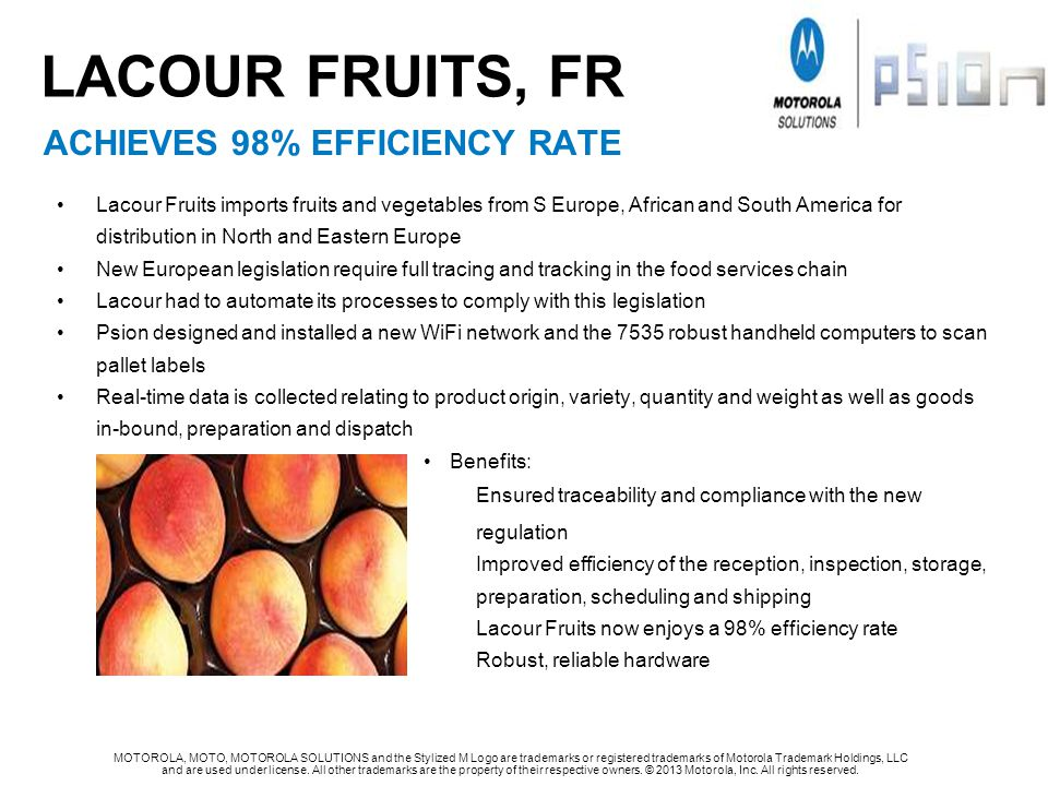 Lacour fruits, Fr ACHIEVES 98% EFFICIENCY RATE