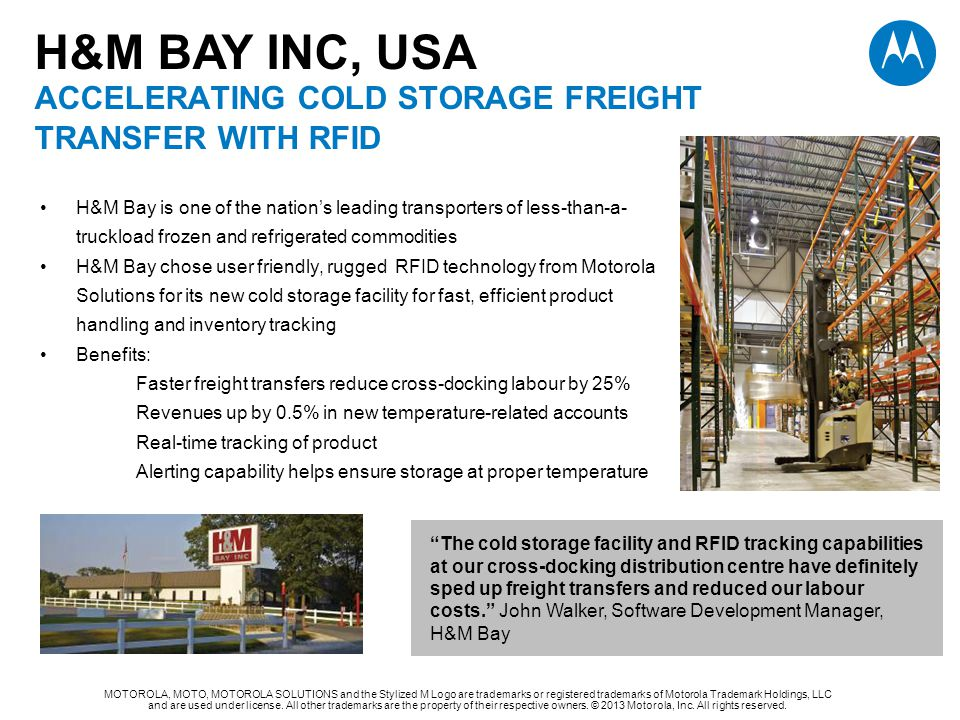 H&M BAY INC, USA accelerating cold storage freight transfer with rfid
