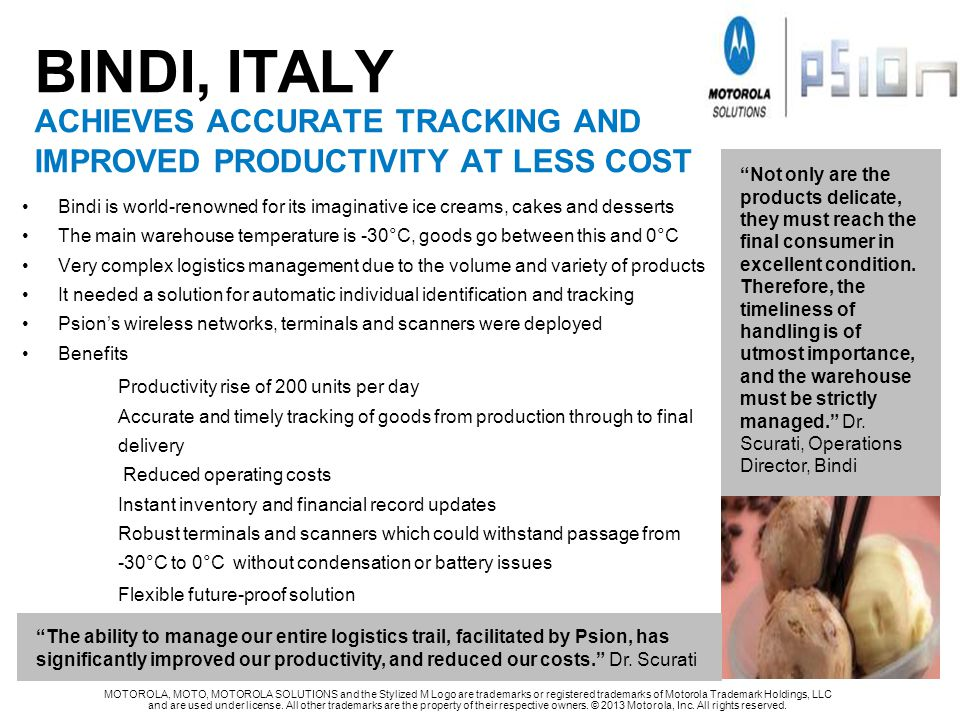 BINDI, ITALY achieves accurate TRACKING and improved productivity At less cost