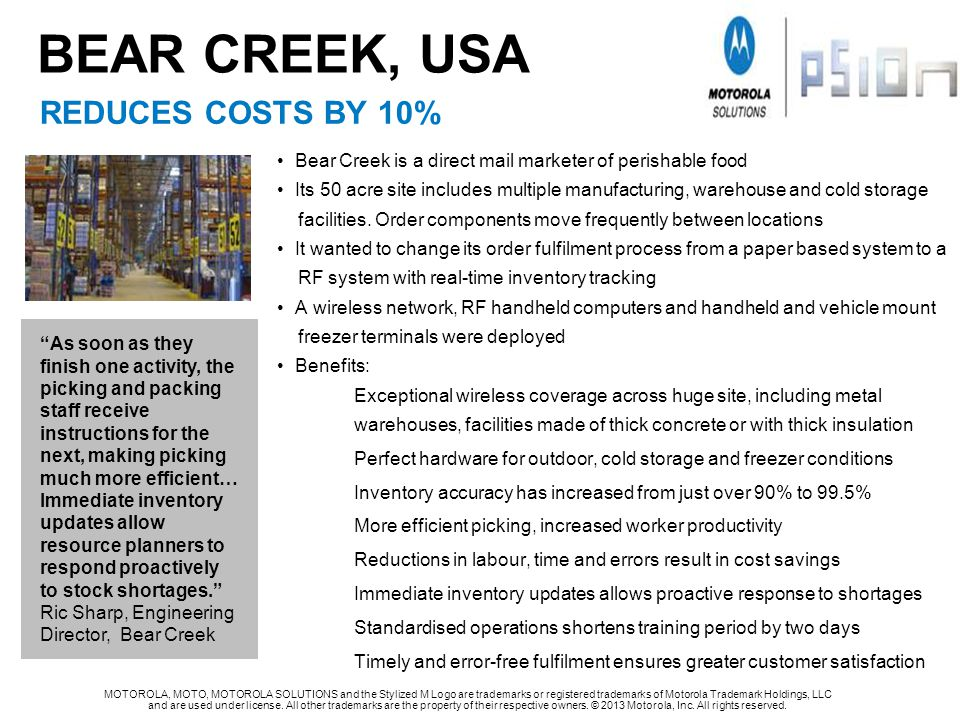 BEAR CREEK, USA REDUCES COSTS BY 10%