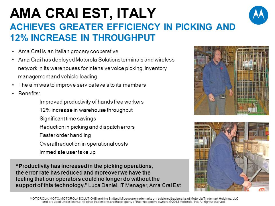 AMA CRAI EST, ITALY ACHIEVES GREATER EFFICIENCY IN PICKING AND 12% INCREASE IN THROUGHPUT