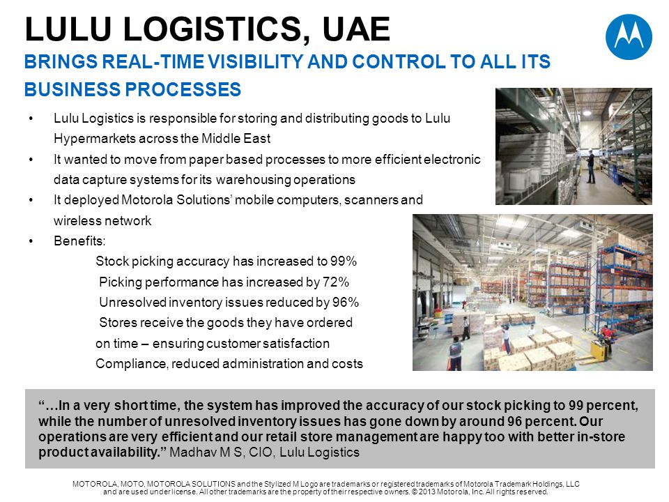 LULU LOGISTICS, UAE brings real-TIME VISIBILITY AND CONTROL TO ALL ITS BUSINESS PROCESSES
