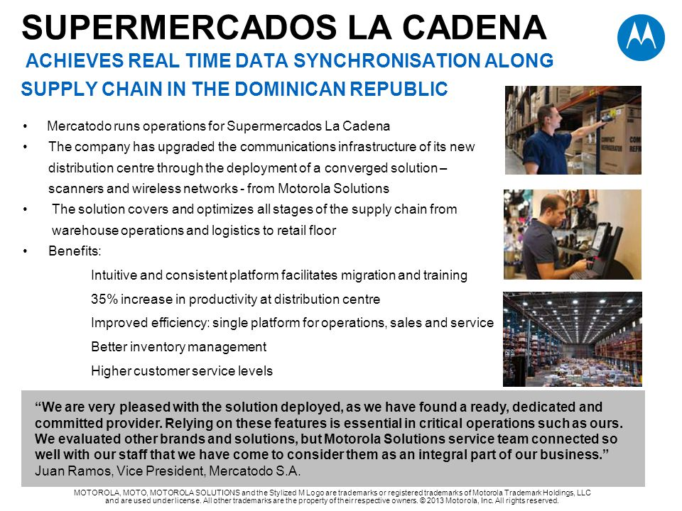 SUPERMERCADOS LA CADENA ACHIEVES real time data synchronisation along supply chain IN THE Dominican republic