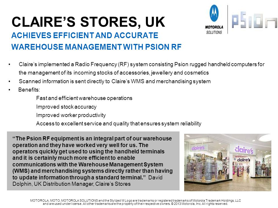 CLAIRE's STORES, UK achieves efficient and accurate warehouse management WITH psion rf
