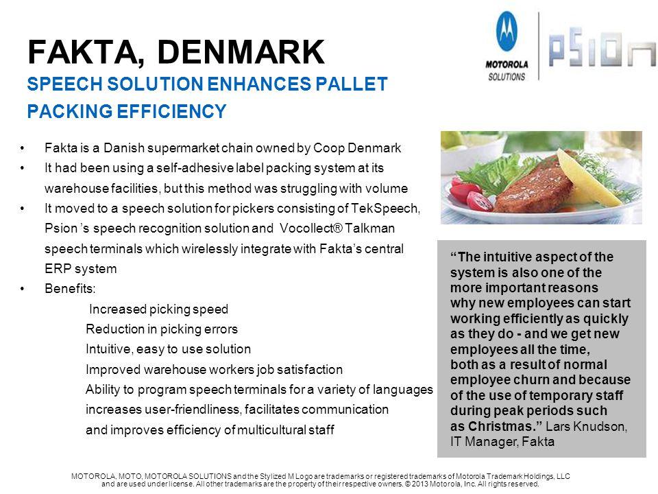 FAKTA, DENMARK SPEECH SOLUTION ENHANCES PALLET PACKING EFFICIENCY