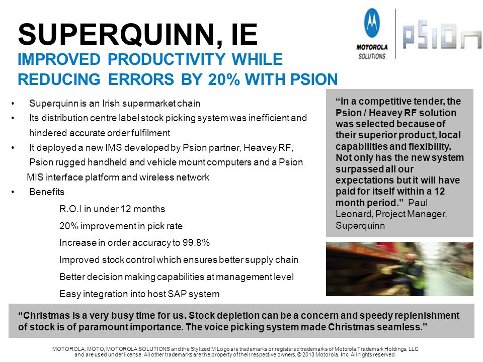 SUPERQUINN, Ie IMPROVED PRODUCTIVITY WHILE REDUCING ERRORS BY 20% WITH PSION