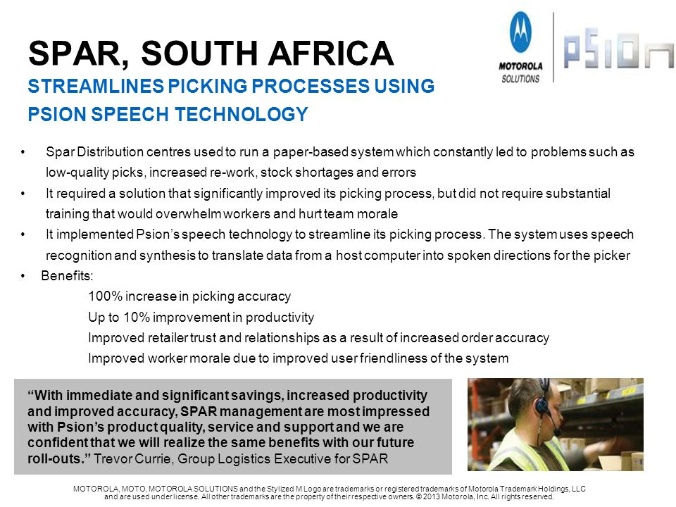 SPAR, SOUTH AFRICA streamlines PICKING PROCESSES USING PSION SPEECH TECHNOLOGY