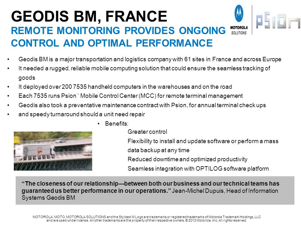 GEODIS BM, FRANCE REMOTE MONITORING PROVIDES ONGOING CONTROL AND OPTIMAL PERFORMANCE