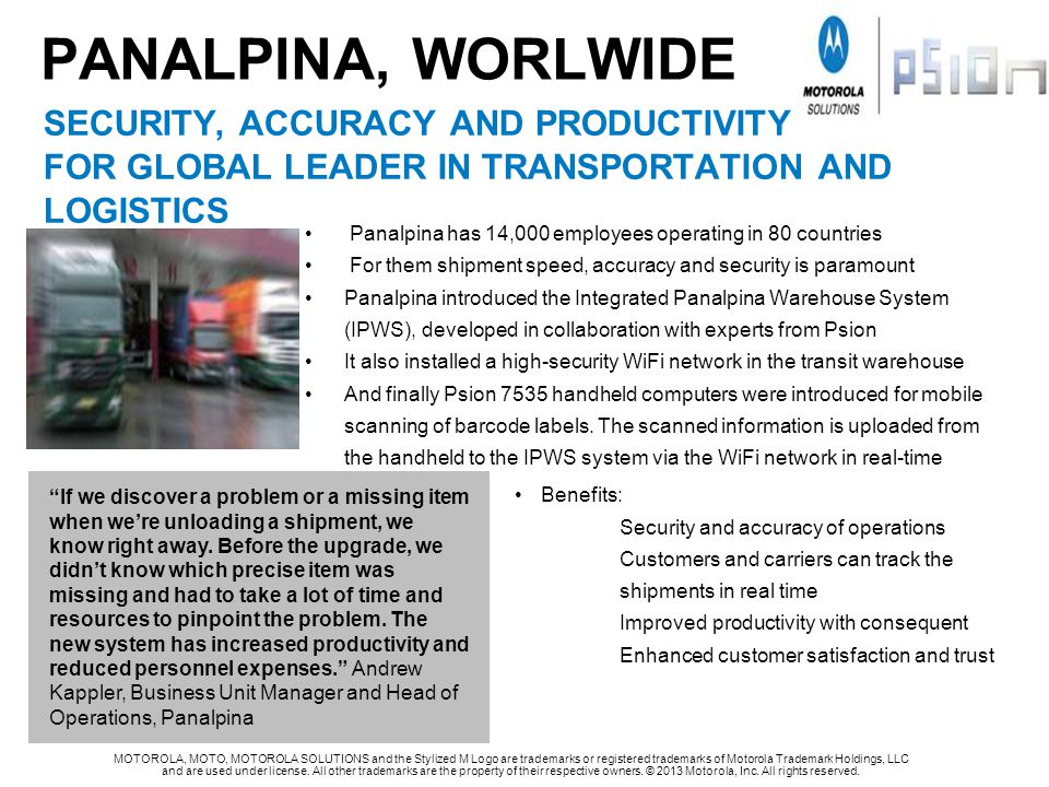 PANALPINA, WORLWIDE security, accuracy and productivity