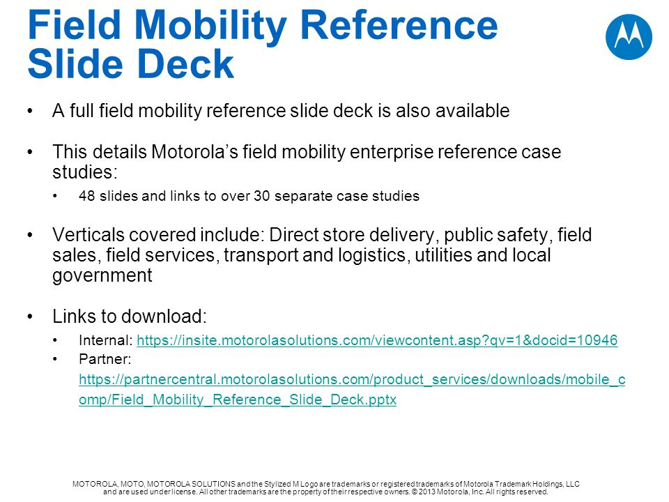 Field Mobility Reference Slide Deck