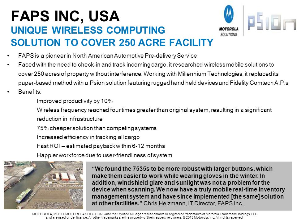 FAPS INC, USA UNIQUE WIRELESS COMPUTING solution TO COVER 250 ACRE FACILITY