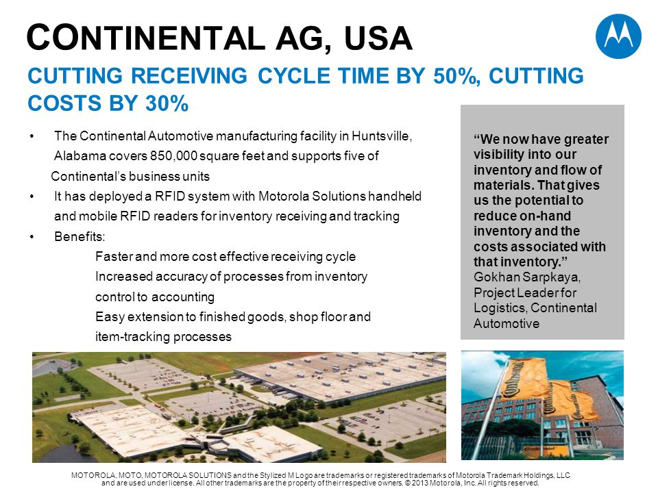 CONTINENTAL AG, USA CUTTING RECEIVING CYCLE TIME BY 50%, cutting costs by 30%