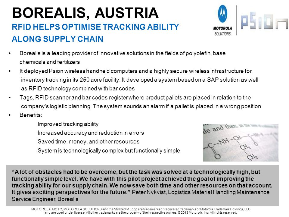 BOREALIS, AUSTRIA RFID HELPS OPTIMISE TRACKING ABILITY ALONG SUPPLY CHAIN