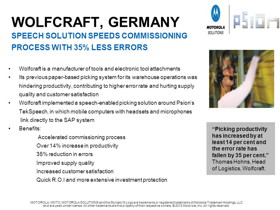 WOLFcRAFT, GERMANY SPEECH SOLUTION SPEEDS COMMISSIONING PROCESS WITH 35% LESS ERRORS