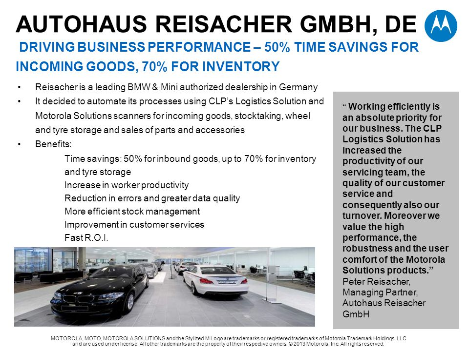 autohaus reisaCHER gmbh, de Driving BUSINESS PERFORMANCE – 50% TIME SAVINGS FOR INCOMING GOODS, 70% FOR INVENTORY