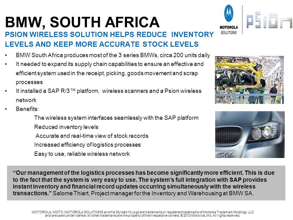BMW, SOUTH AFRICA PSION WIRELESS SOLUTION HELPS REDUCE INVENTORY LEVELS AND KEEP MORE ACCURATE STOCK LEVELS