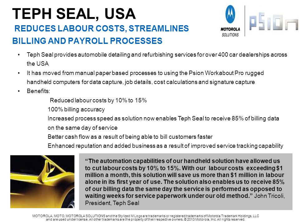 TEPH SEAL, USA REDUCES LABOUR COSTS, STREAMLINES BILLING AND PAYROLL PROCESSES