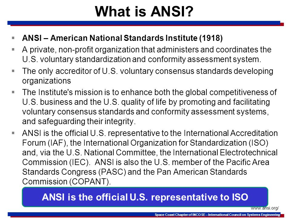 ANSI is the official U.S. representative to ISO